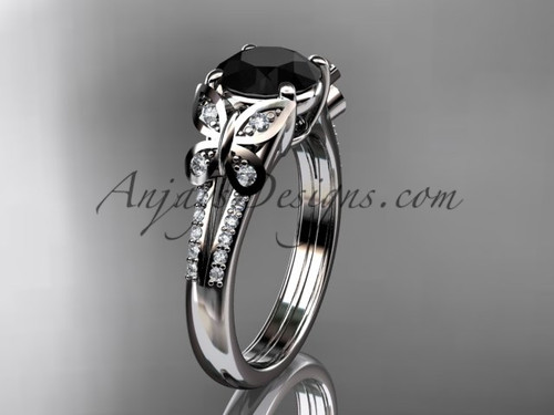 Butterfly Rings White Gold Black Diamond Ring ADLR514