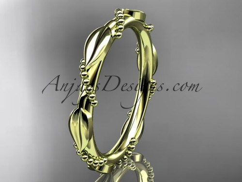 14k yellow gold ring design for female without stone engagement ring, wedding band ADLR178B