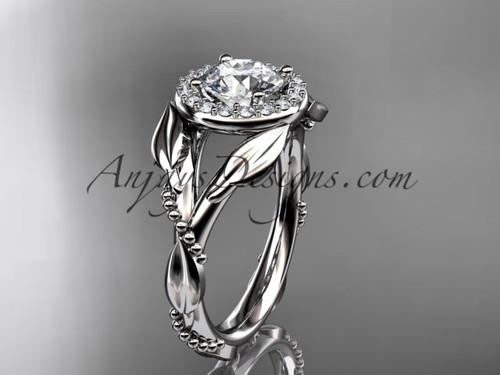 Moissanite White Gold Leaf Halo Engagement Ring ADLR328