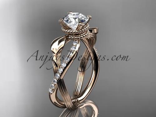 Flower Engagement Ring - Rose Gold Leaf Ring ADLR70