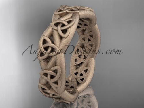 Celtic Bridal Ring, Matte Rose Gold Wedding Band CT7392G
