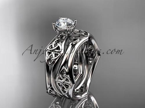 platinum celtic trinity ring,  triquetra ring, engagement  set, CT7356S