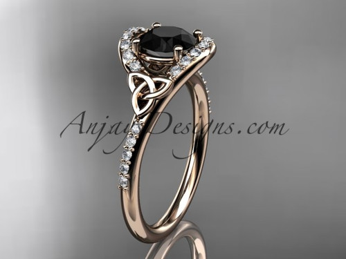 Rose Gold Black Diamond Celtic Trinity Wedding Ring CT7317