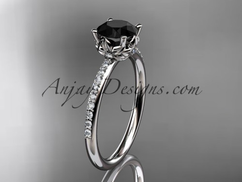 14kt white gold diamond floral wedding ring, engagement ring with a Black Diamond center stone ADLR92