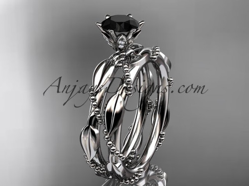 14k white gold diamond vine and leaf wedding ring, engagement set with a Black Diamond center stone ADLR178S