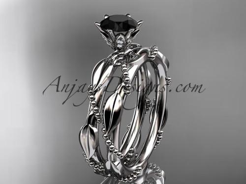 14k white gold diamond vine and leaf wedding ring, engagement set with a Black Diamond center stone ADLR178S