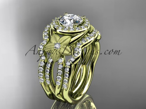 """14kt yellow gold  diamond floral wedding ring, engagement ring with a """"Forever One"""" Moissanite center stone and double matching band ADLR127S"""