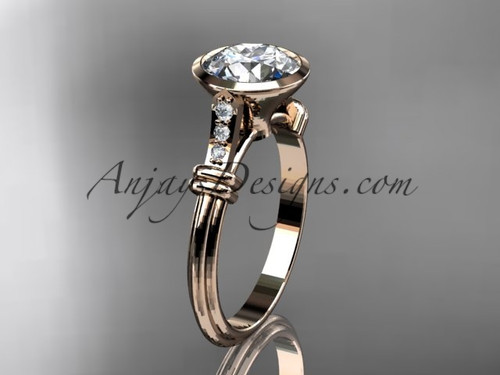 Solitaire Engagement Ring, Rose Gold Diamond Ring ADLR23