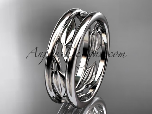 14kt White Gold Leaf Wedding Band ADLR400G AnjaysDesigns