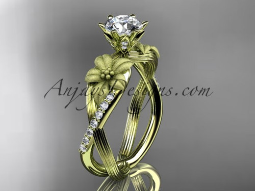 """Unique 14kt yellow gold diamond flower, leaf and vine wedding ring, engagement ring with a """"Forever One"""" Moissanite center stone ADLR221"""