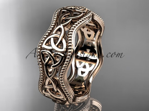 Celtic Knot Wedding Bands Rose Gold ring design for women CT750B