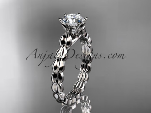 "14k white gold diamond vine and leaf wedding ring, engagement ring with  ""Forever One"" Moissanite center stone ADLR35"