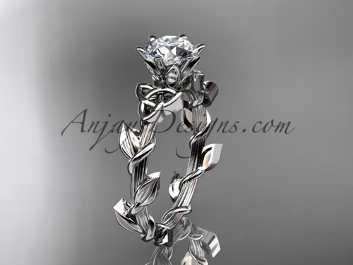 Moissanite Bridal Ring, Platinum Celtic Marriage Ring CT7248