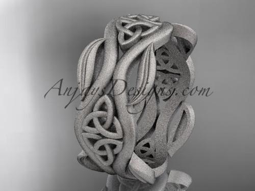 White Matte Finish Gold Celtic Leaf Engagement Ring CT7264G