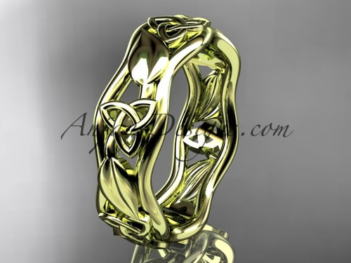 Celtic Trinity Knot Wedding Band Yellow Gold Leaf ring CT7105B