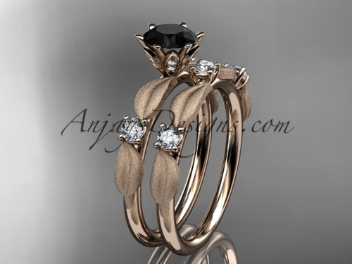 14kt rose gold diamond unique leaf and vine engagement set, wedding set with a Black Diamond center stone ADER177S