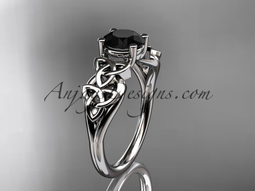 14kt white gold celtic trinity knot wedding ring, engagement ring with a Black Diamond center stone CT7169