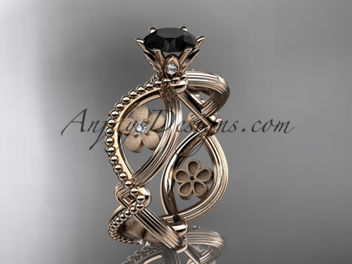 14kt rose gold diamond floral wedding ring, engagement ring with a Black Diamond center stone ADLR192