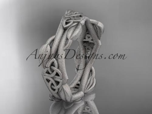 platinum diamond celtic trinity knot matte finish wedding band, engagement ring CT7354G