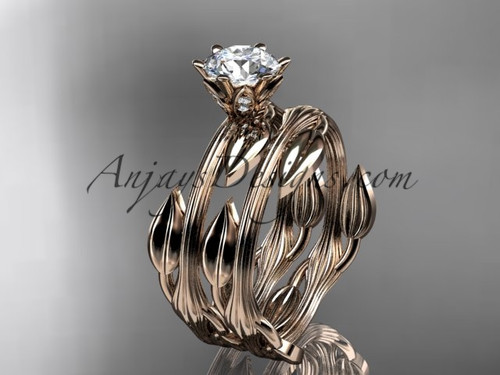 14k rose gold leaf and vine wedding ring, engagement set ADLR343S