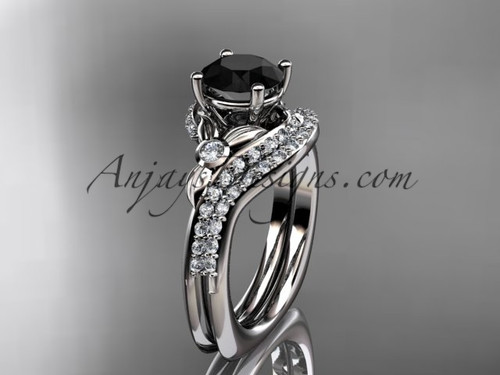 14kt white gold diamond leaf and vine engagement ring set with a Black Diamond center stone ADLR112S