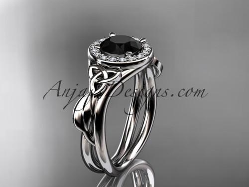 platinum diamond celtic trinity knot wedding ring, engagement ring with a Black Diamond center stone CT7314
