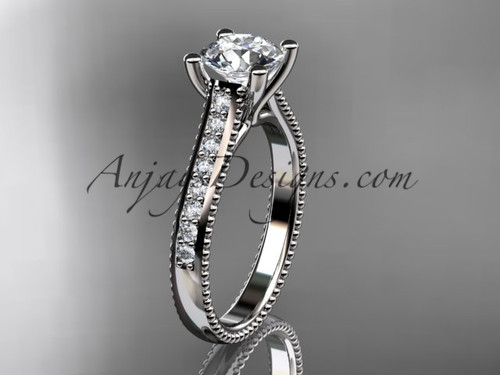 """platinum diamond unique engagement ring, wedding ring with a """"Forever One"""" Moissanite center stone ADER116"""