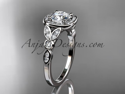 14kt white gold diamond leaf and vine wedding ring, engagement ring ADLR179