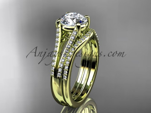 """14kt yellow gold diamond unique engagement set, wedding ring with a """"Forever One"""" Moissanite center stone ADER108S"""
