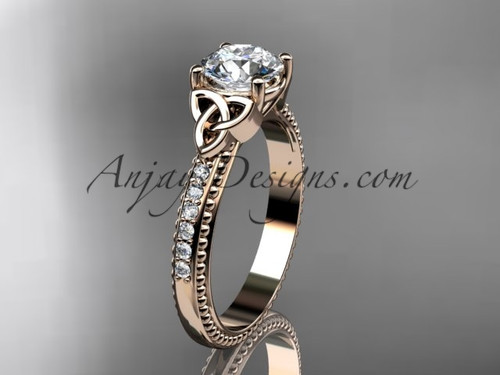14kt rose gold diamond celtic trinity knot wedding ring, engagement ring CT7391