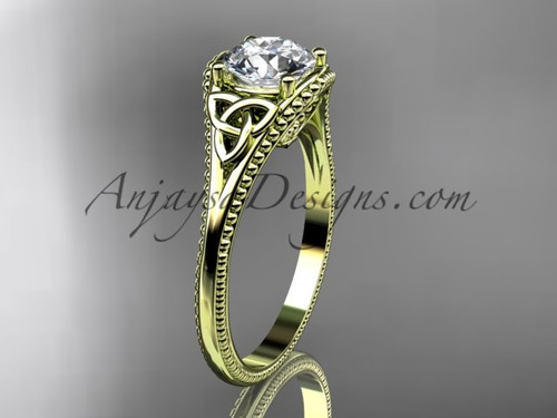 "14kt yellow gold celtic trinity knot wedding ring, engagement ring with a ""Forever One"" Moissanite center stone CT7375"