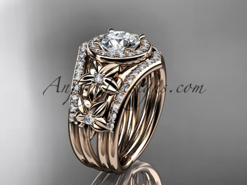 "14kt  rose gold diamond floral wedding ring, engagement ring with a ""Forever One"" Moissanite center stone and double matching band ADLR131S"