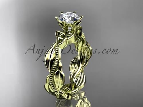 14kt yellow gold diamond celtic trinity knot wedding ring, engagement ring CT7258
