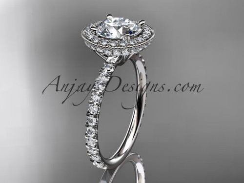 "14kt white gold diamond unique engagement ring, wedding ring with a ""Forever One"" Moissanite center stone ADER106"