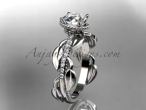 Unique Platinum diamond leaf and vine diamond engagement ring ADLR231