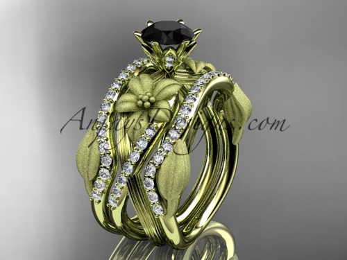 Unique 14kt yellow gold diamond flower, leaf and vine wedding ring, engagement ring with a Black Diamond center stone and double matching band ADLR221S