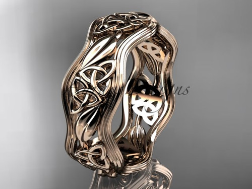 14kt rose gold celtic trinity knot wedding band, engagement  ring CT7510G