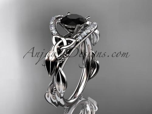 platinum diamond celtic trinity knot wedding ring, engagement ring with a Black Diamond center stoneCT7326