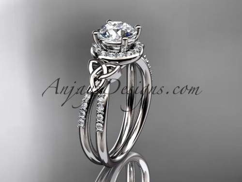 """platinum diamond celtic trinity knot wedding ring, engagement ring with a """"Forever One"""" Moissanite center stone CT7373"""