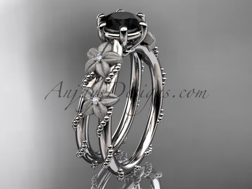 14kt white gold diamond floral, leaf and vine wedding ring, engagement ring with  Black Diamond center stone ADLR66