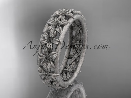 platinum flower wedding ring, engagement ring, wedding band ADLR163G