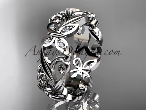 Platinum diamond leaf and vine butterfly wedding ring, engagement ring, wedding band ADLR144