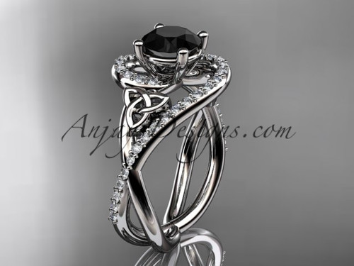 14kt white gold diamond celtic trinity knot wedding ring, engagement ring with a Black Diamond center stone CT7320