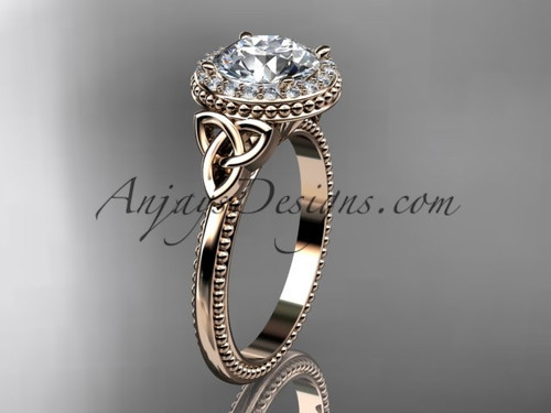 "14kt rose gold diamond celtic trinity knot wedding ring, engagement ring with a ""Forever One"" Moissanite center stone CT7157"