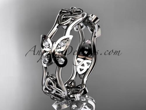 platinum diamond celtic trinity knot wedding band, butterfly engagement ring CT7153BA