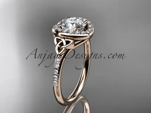 "14kt rose gold diamond celtic trinity knot wedding ring, engagement ring with a ""Forever One"" Moissanite center stone CT7201"