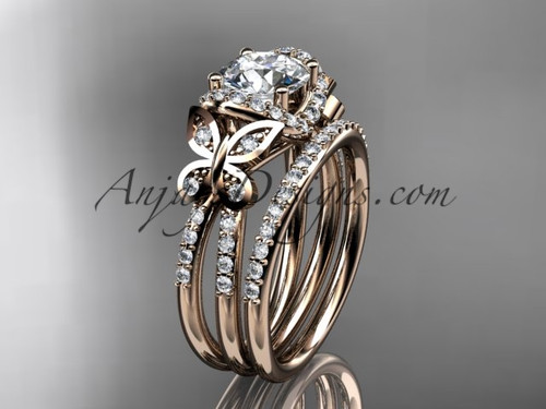 "14kt rose gold diamond butterfly wedding ring, engagement set with a ""Forever One"" Moissanite center stone ADLR141S"