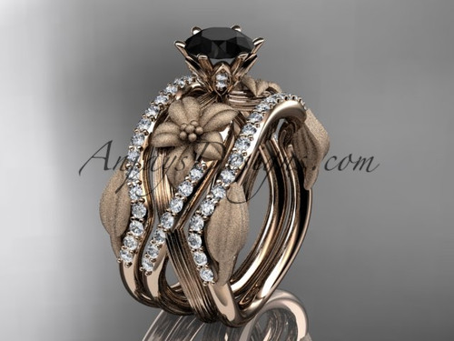 Unique 14kt rose gold diamond flower, leaf and vine wedding ring, engagement ring with a Black Diamond center stone and double matching band ADLR221S