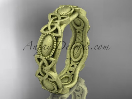 14kt yellow gold celtic trinity knot wedding band, matte finish wedding band, engagement  ring CT7152G