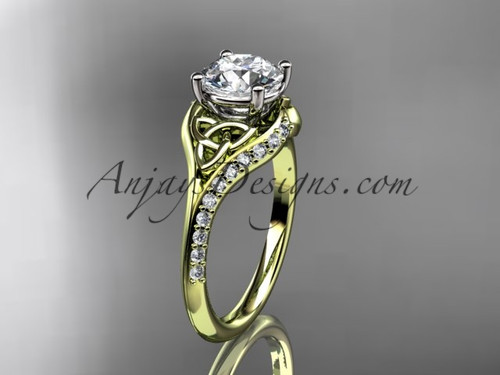 """14kt yellow gold diamond celtic trinity knot wedding ring, engagement ring with a """"Forever One"""" Moissanite center stone CT7125"""